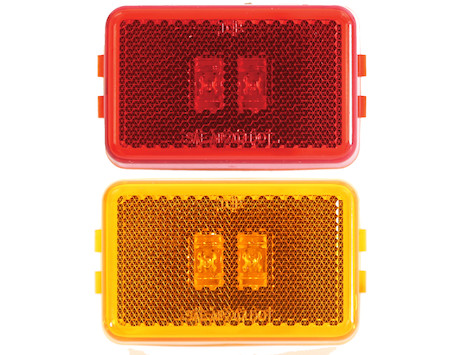 3.125 Inch Rectangular Marker/Clearance Light with Reflex and 2 LEDs